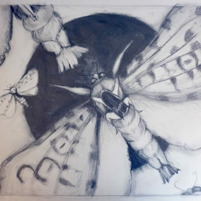 Moth Squadron 1 - painting by Rebekah Farr